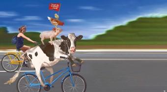 Fahrraddemo gegen Massentierhaltung