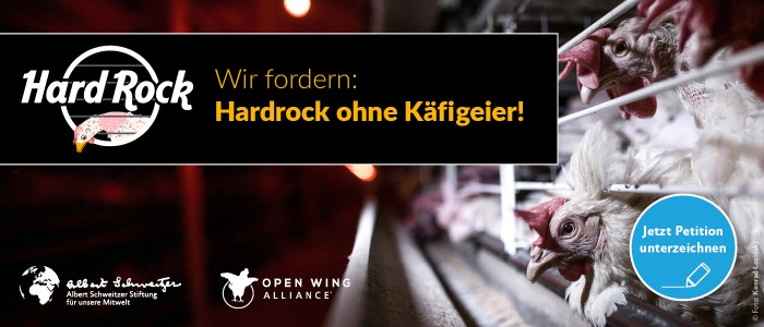 Petitionsbanner Hardrock ohne Käfigeier!