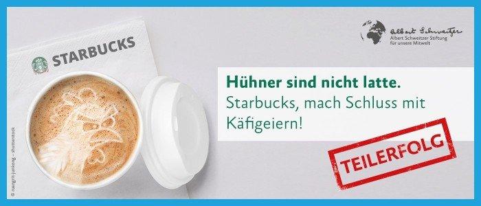 Banner Petition Starbucks kaefigfrei Teilerfolg