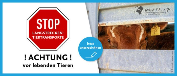 Petitionsbanner Tiertransporte stoppen