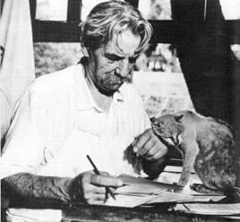 Albert Schweitzer mit Katze