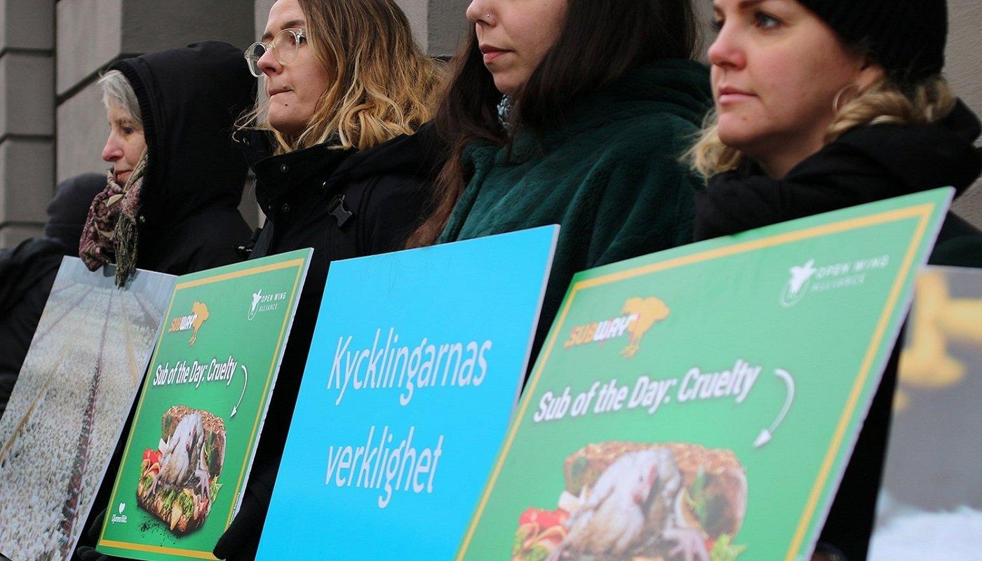 Protest vor Subway-Filiale in Stockholm.