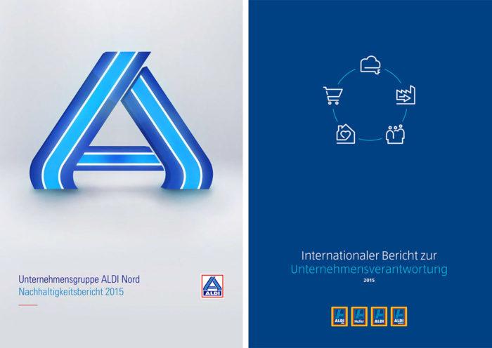 Titelseiten der Nachhaltigkeitsberichte von ALDI Nord und ALDI Süd