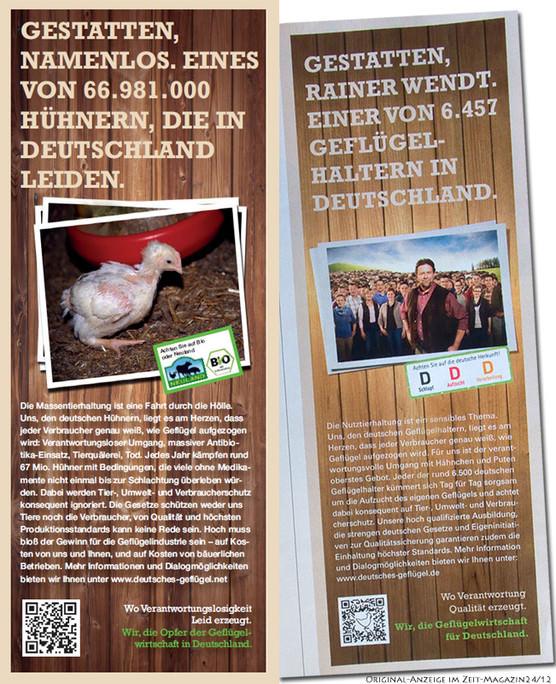 Werbung für Geflügelfleisch - und Gegenwerbung