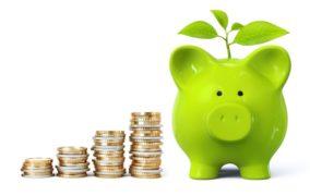 Münzgeldstapel neben einem grünen Sparschwein, aus dem grüne Blätter ragen