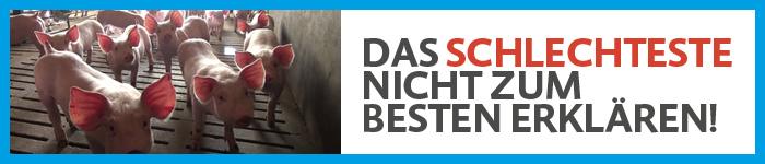 Petition zu BREF: Banner gegen Vollspaltenböden